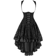 Kimring Women's 2 Pcs Steampunk Gothic Underbust Corset Lace Dancing... (145 BRL) ❤ liked on Polyvore featuring dresses, bottoms and skirts