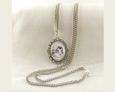 Cat with blue eyes , very long necklace with glass cabochon by CapricesDeParisienne on Etsy