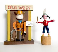 Vintage Bank Old West Cowboy Push Puppet Native American Indian by NeatoKeen on Etsy
