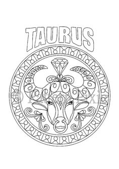 Adult Coloring Page Zodiac Taurus by PatternPixie on Etsy