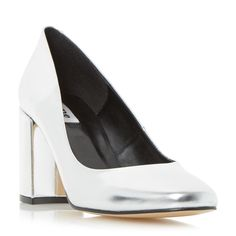£80 DUNE LADIES ABELL - Block Heeled Round Toe Court Shoe - silver | Dune Shoes Online