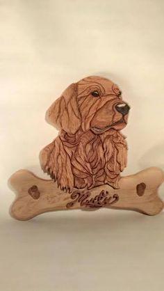 Wood Intarsia Dog Portrait