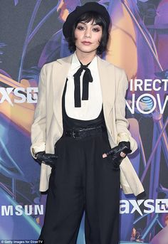Vintage vixen! Vanessa Hudgens suits up in a period ensemble as she attends the 2018 DirecTV Now concert for Super Bowl weekend