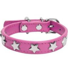 Faux Leather Dog Collar w/ Embellished Star Charms, Magenta, XL * Click image to review more details. (This is an affiliate link) #DogIDTags