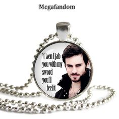 Captain Hook Necklace When I jab you with my sword Colin O'Donoghue Pendant Once upon a Time Quotes