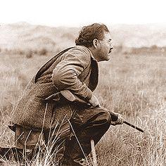 Photo of Hemingway, shot by Robert Capa in Sun Valley.