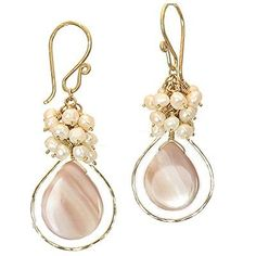 Ivory pearls with pink mother of pearl insidea hammered drop, about long. Available in gold filled & sterling silver Ivory Pearl, Pearl Drop Earrings, Earrings Handmade, Sterling Silver, Diamond, Unique Jewelry, Cosmopolitan, Pink, Gold