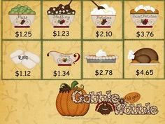 Gobble Till You Wobble~Thanksgiving Dinner Menu ~Turkey  Cute money game $2.00