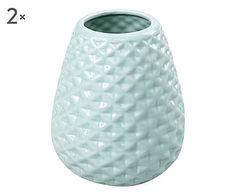 Set di 2 vasi in ceramica Camilla blu, 12x13x12 cm