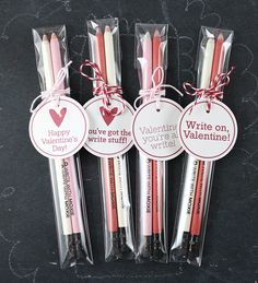 "give cute pencils...""write on!"" valentine."