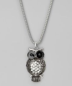 Take a look at this Silver Beaded Owl Pendant Necklace by Sylvia Alexander on #zulily today!