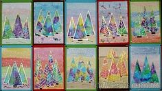 Tissue paper trees: use water colours for background scene, lay tissue paper on heavy paper to bleed & dry, cut trees from bled paper & paste on background, outline in sliver or gold Sharpie, add snow (hole punches, white out, pine needle stampers).