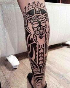 Polynesian tattoo on calf #maoritattoospierna