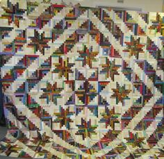 A second New England Log Cabin made by Joanne Wilhelm from the pattern in Stellar Quilts by Judy Martin. This one utilizes a different block arrangement.