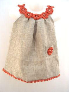 Linen organic coral flower dress / tunic crochet dress/ sew for the baby / toddlers / girl of any, Linen natural coral flower costume / tunic crochet costume/ sew for the child / toddlers / woman of any Linen natural coral flower costume / tunic cro. Crochet Tunic Pattern, Crochet Yoke, Crochet Girls, Crochet Baby Clothes, Sewing Clothes, Doll Clothes, Crochet Flower, Crochet Costumes, Flower Costume