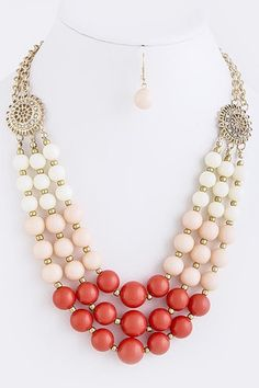 Ombre Bead Necklace Coral - here's an example with BOLD ombre.  DIY! Start by shopping dakotastones.com for gemstone round beads.