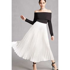 Forever21 Pleated Satin Maxi Skirt ($28) ❤ liked on Polyvore featuring skirts, ivory, satin pleated skirt, forever 21, long accordion-pleat skirt, ivory maxi skirt and pleated skirt