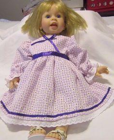 """Lav Gingham Dress,Fits 20"""" Lee Middleton Macie Toddler doll/19"""" Regan LM Doll #KindredHeartsDesigns"""