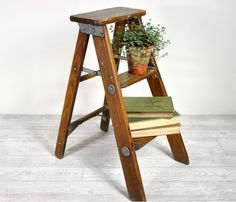 On a stool.