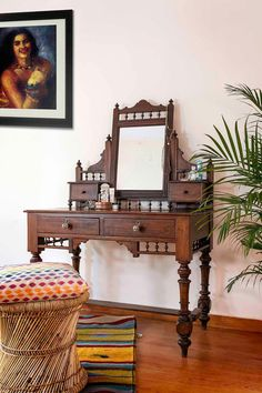 A family heirloom from the 1940's, this piece has been passed down from aunt to niece. Handcrafted from teak wood, this beautiful piece has turned
