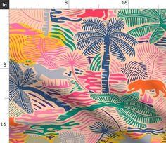Jungle Magic / Colorful Crayon - Big - Spoonflower Hawaiian Pattern, Tropical Pattern, Textiles, Textile Prints, Textile Design, Tropical Fabric, Color Crayons, Fabric Animals, Dressmaking Fabric