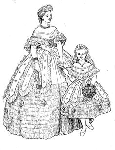 Renaissance Costumes and Clothing Coloring Pages 31