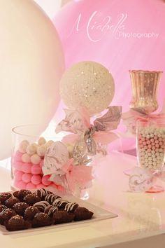 Sugar and Spice Birthday Theme. Sugar balls on candle sticks - Glitter Styrofoam balls