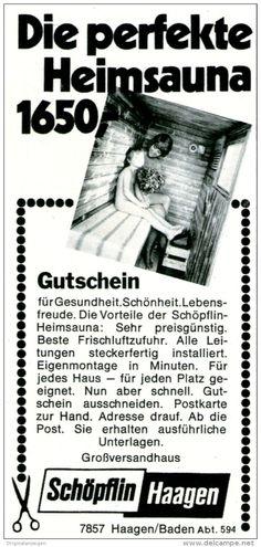Original-Werbung/ Anzeige 1969 - HEIMSAUNA / SCHÖPFLIN HAAGEN - ca. 55 x 115 mm
