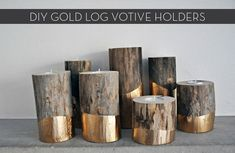 These gold log candle holders will add a glam-yet-rustic vibe to your home any time of year!