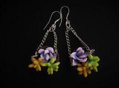 Succulent dangle earrings planted succulents by Feelingfimo