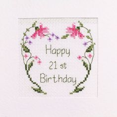 21st Birthday Card Cross Stitch Kit ⭐️ 3 Different Designs 1 Personalised ⭐️ £4.99