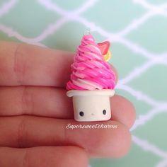 #kawaii #charms #polymer #clay #strawberry #frozen #yoghurt #charm