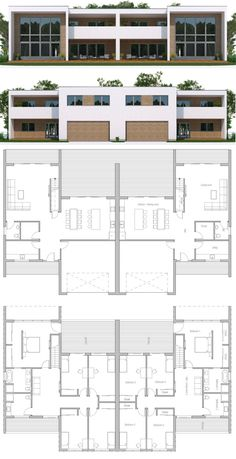 Duplex House Plan Duplex House Plan Image Size: 900 x 1754 Source Contener House, Town House Floor Plan, Model House Plan, Sims House, Duplex House Design, Townhouse Designs, Family House Plans, Dream House Plans, Double House