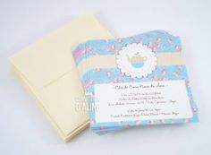 convite cha cozinha provençal floral azul