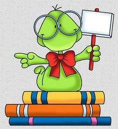 Books are great School Days, Back To School, Frosch Illustration, Image Digital, School Clipart, Clip Art, Copics, Digital Stamps, Paper Piecing