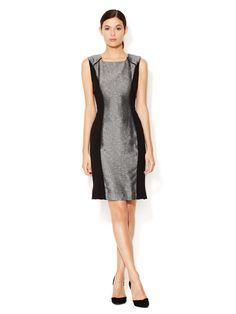 Jacquard Sheath Dress with Leather Combo Trim