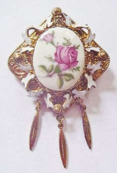 1960's Rose Glass Cabochon Brooch with antiqued gold tone surround by RetroroxJewellery on Etsy