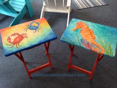 Hand painted TV tray tables  Original art by Gabriela Valencia