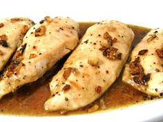 All you garlic lovers will LOVE this chicken…An instant hit and will have everyone wanting more!  As it bakes, the garlic and sugar melt into a sweet glaze. This dish can be prepped in the morning, refrigerated, and baked just before serving. Each very tender chicken breast has 188 calories, 4 grams of fat and 5 Weight Watchers POINTS PLUS.  So yummy served with my recipe for Super Healthy, Garlic Sauteed Spinach or Skinny Garlic Green Beans. That's truly all you'll need!