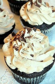 Chocolate mocha cupcakes with peanut butter buttercream topped with chocolate…