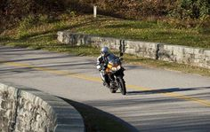 The perfect way to enjoy the 2012 V-Strom 650 ABS on the Blue Ridge Parkway. Blue Ridge Parkway, Golf Bags, Roads, Road Routes, Street