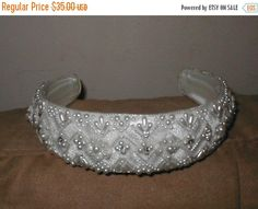 FALL SALE Vintage Beaded Bridal Headpiece white or ivory