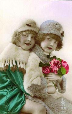 Little Girls, Hand tinted Photo