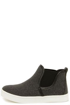 Grey High-Top Slip-On Sneakers