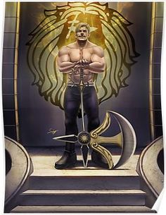 Anime Cosplay Escanor Sin of Pride Poster - Fanart of Escanor from the manga Nanatsu no Taizai (seven deadly sins). Art Anime, Anime Kunst, Manga Anime, Cosplay Anime, Lord Escanor, Escanor Seven Deadly Sins, 7 Sins, Fan Art, Avatar The Last Airbender