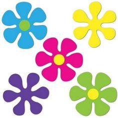 Mini Retro Flower Cutouts - 60's Hippie Party Decorations
