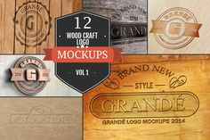 12 Wood Craft Logo Mockups Vol. 1 by ZippyPixels on Creative Market