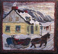 JUST Go Hook It - Rug Hooking: WINTER Sleigh scenes - Hooked Rugs in Quebec