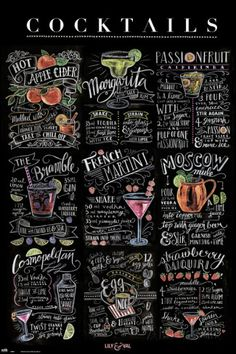 Chalkboard style printable poster for cosmo, martini, Moscow Mule etc Fancy Drinks, Bar Drinks, Alcoholic Drinks, Cocktail Book, Cocktail Menu, Wedding Signature Cocktails, Cafeteria Menu, Martini Recipes, Drink Recipes