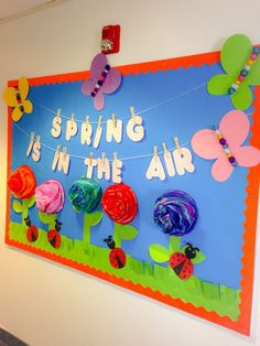 My spring bulletin board (one of my favorites) thinking about leaving up till June.: